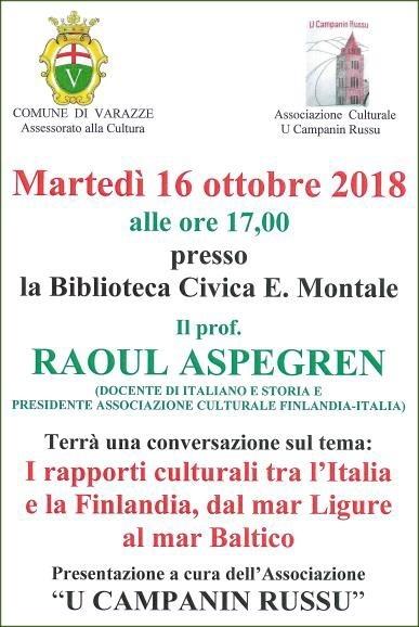 Rapporti culturali tra l'Italia e la Finlandia. Interessante conferenza a Varazze
