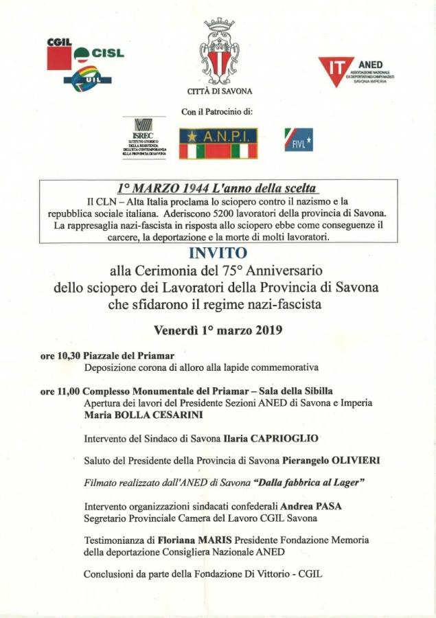 Cerimonia del 75° Anniversario dello sciopero dei Lavoratori della Provincia di Savona