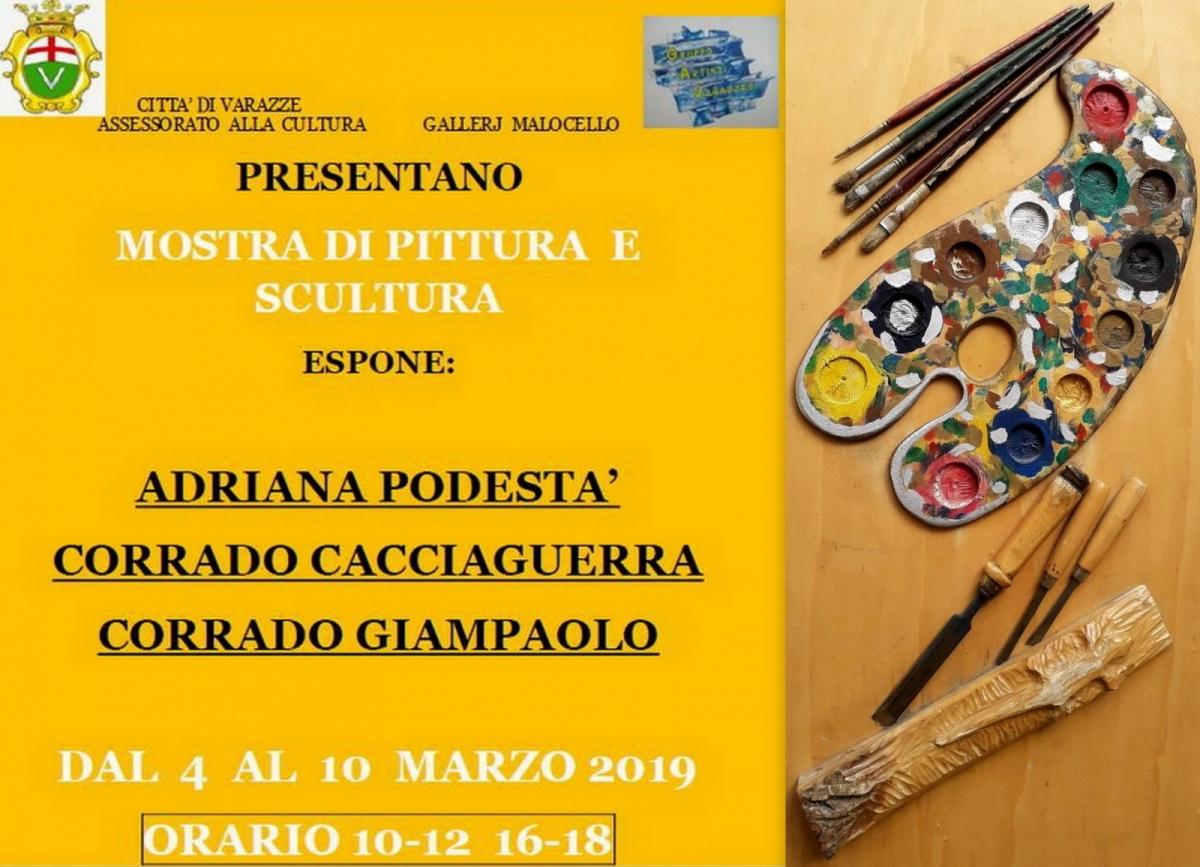 Mini mostra collettiva alla -Gallery Malocello- con Podestà, Cacciaguerra e Giampaolo