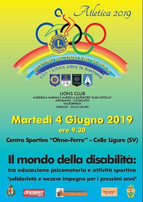 Meeting Arcobaleno Scuola 2019 a Celle Ligure con i Lions oltre le barriere