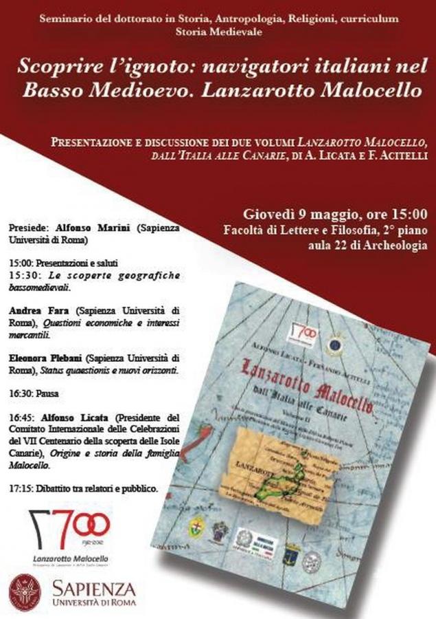 L'Università degli Studi di Roma -Sapienza- valorizza il navigatore Lanzarotto Malocello