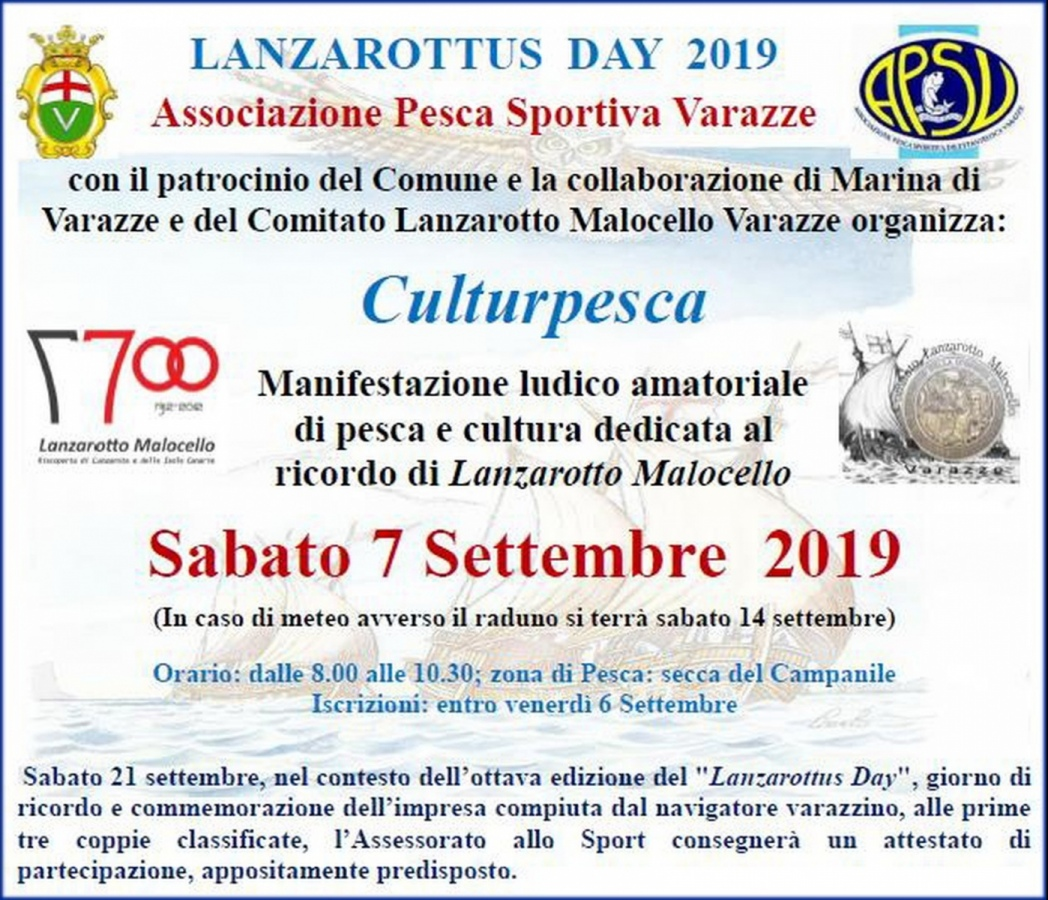 – Culturpesca – raduno di sport e cultura. Sabato 7 Settembre 2019, dalle 8: 00 alle 10: 30